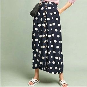 Maeve Claudette polkadot button front skirt navy